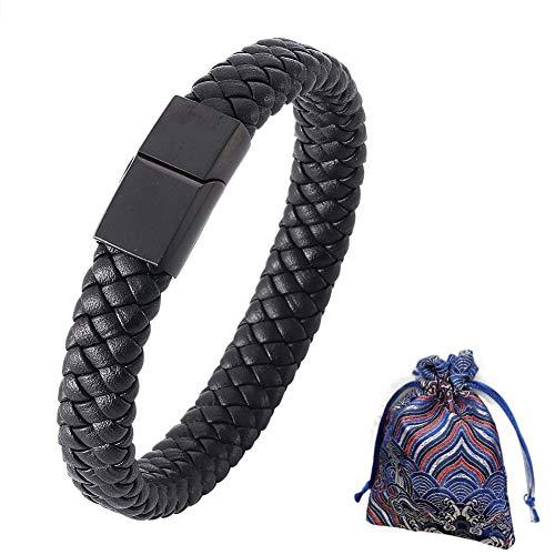 WLXW Edelstahl-Armband, Gewebte Leder Magnetic Buckle Männer und Frauen Mode-Armband, Feine Geschenk-Beutel, Geburtstags-Geschenk,Schwarz,16.5CM