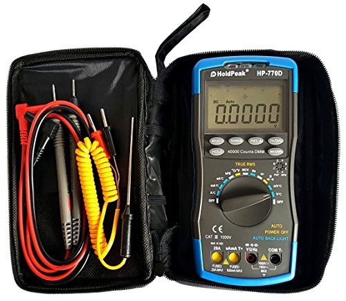 HoldPeak Profi Digital Multimeter HP-770D mit 40.000 Counts CAT.III NCV True RMS HZ Autorange Zubehör grau/blau