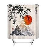 Cortina de ducha de tinta japonesa Árboles de bambú Sol y