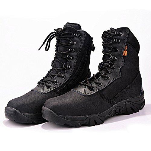 LiliChan Männer 8-Zoll-Kampf Military Tactical Duty Work Boot mit Reißverschluss Schwarz