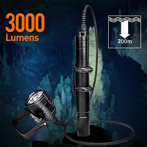 Odepro WD70 Lumière de plongée sous-marine 3000 Lumens Lampe de plongée sous-marine