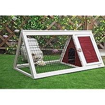 Petsfit Cojín del conejo del triángulo, jaula del conejito, buena tolva del conejito de la ventilación, limpieza fácil, los 115cm los x 61cm los x 52cm