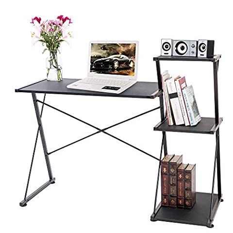 LIFE CARVER Compact Corner Black Computer Desk Workstation with book shelf Laptop Study Table for Home Office Furniture