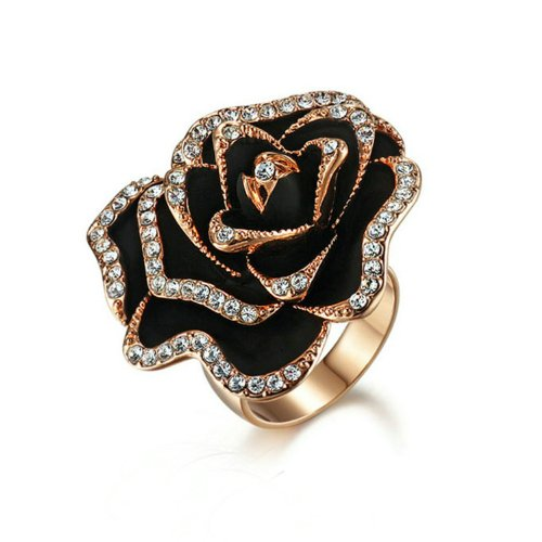 yoursfs schwarz Rose Flower Damen Ringe 18ct Rose Gold Finish (Rose Blume Ring)