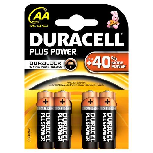 Duracell - Pile Alcaline - Duralock AA x 4 Plus Power (LR6)