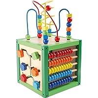 """Motorikwürfel """"Frühling"""" aus Holz, Babyspielzeug mit fünf bunten, farbenfrohen Spielflächen, ab 12 Monaten"""