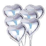 TOYMYTOY Herz Folienballon 18 Zoll Heliumballons für Valentinstag Hochzeit Geburtstagsfeier Party DIY Dekoration 6pcs (Silber)