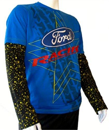 Rallycross OMSE Ford Fiesta Extreme Mens azul negro manga larga camiseta XXL d8921660199b