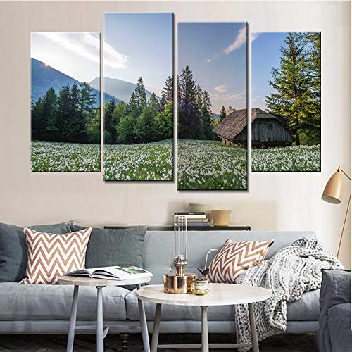 ZUMOOY Painting Modern Art 4 Pieces/Pcs Mountain Landscape Photo Canvas Tableau Print,with Frame,30x60 30x80cm