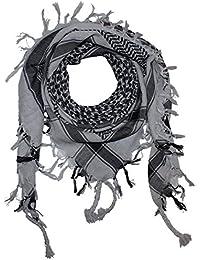 Superfreak® Pañuelo pali de dos colores clásico°chal PLO°100x100 cm°Pañuelo palestino Arafat°100% algodón – gris-claro/negro