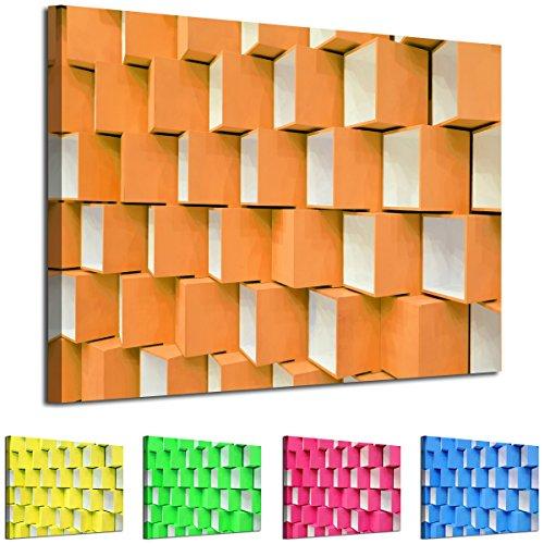 Digital Photo Cube (ab714woyw, gerahmt, für eine moderne abstrakte Kunst–Bild–Farbe Optionen–3D geometrische Pastell Cubes Foto–Wohnzimmer & Home Decor mit Einfache Aufhängen Guide, canvas, Orange, 80 x 120 cm)