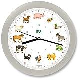 KOOKOO KidsWorld Gris-Seda, Reloj de Pared Genuino, Sonidos de Animales Naturales, 12 Animales de la Ganja, Ilustraciones Monika Neubacher-Fesser, Sensor de luz