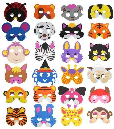 16máscaras de espuma para niños de Ccinee, diseños variados de animales, para bolsas de regalo, 24 unidades