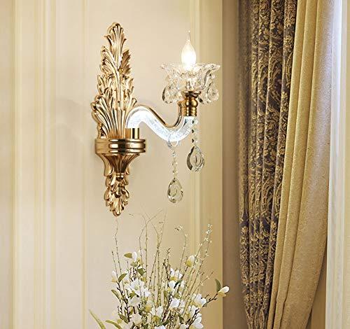 FEE-ZC Wandbeleuchtung Innen Kerzen Wandleuchte Led Flur Wandleuchten Badezimmer Gold Kristallglas Lampenschirm Nacht Villa E14 110V-220V, 1 Head Villa Kerze