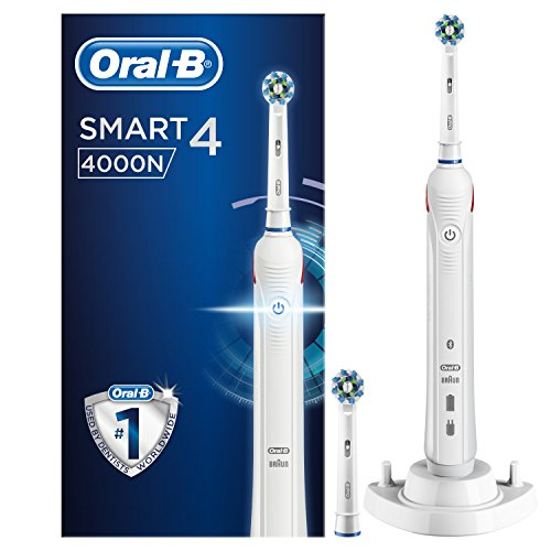 Oral-B Smart Series 4000 Cross Action Electric Rechargeable Toothbrush Powered by Braun – Ships with a UK 2 pin plug
