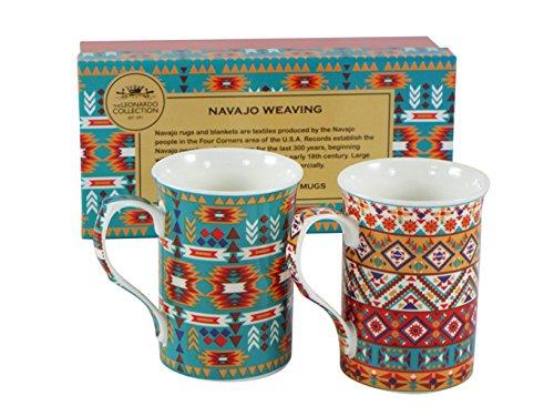Fabulous Navajo tessitura Textiles-Set di 2tazze in porcellana in scatola regalo, Leonardo