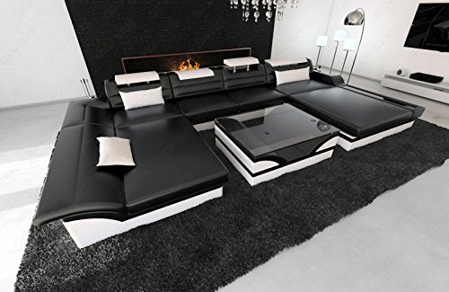 Sofa Dreams Leder Wohnlandschaft Monza als U Form mit Kopfstützen