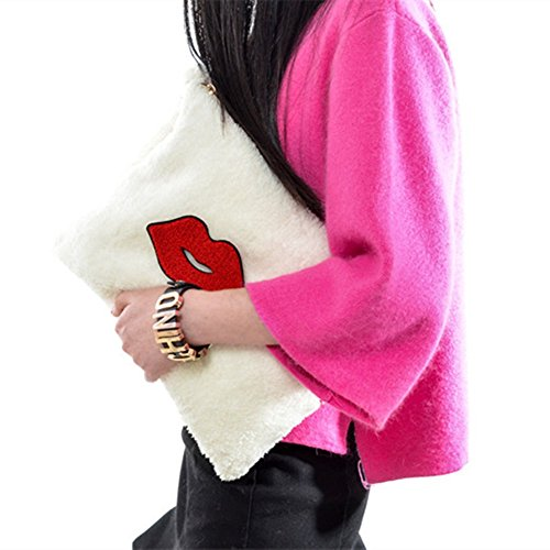 Zarapack femmes avec bracelet imitation fourrure embrayage sac à main - Red Lip