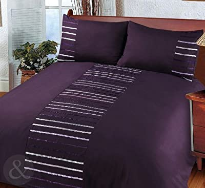 Modern Striped Duvet Cover Set - Bedding Quilt Cover Ribbon Satin Bed Set - low-cost UK bedding store.