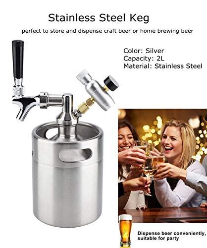 2L Tireuse à Bière Mini Fût de bière, Bière Tonnelet Distributeur Acier INOX Set Portable Baril avec Robinet pressurisé Artisanat Système de Distribution de Bière pour Fête