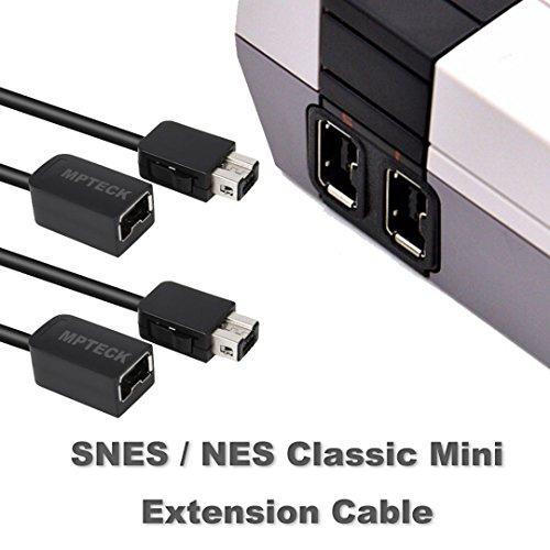 MPTECK @ Lot de 2, 3M Câble Rallonge Câble d'extension SNES Classic Extension Câble pour Super Nintendo NES Classic Mini Manette (2017) Manette Nintendo SNES / NES Classic Mini / Wii Remote