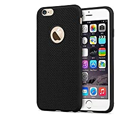 iSAVE Soft Silicone Grid Design Back Case Cover For iPhone 5/5s (BLACK)