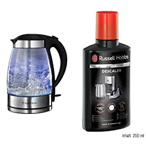 Russell Hobbs Illuminating Glass Kettle, 1.7 L, 3000 W, Clear and Russell Hobbs 21220 Descaler, 250 ml