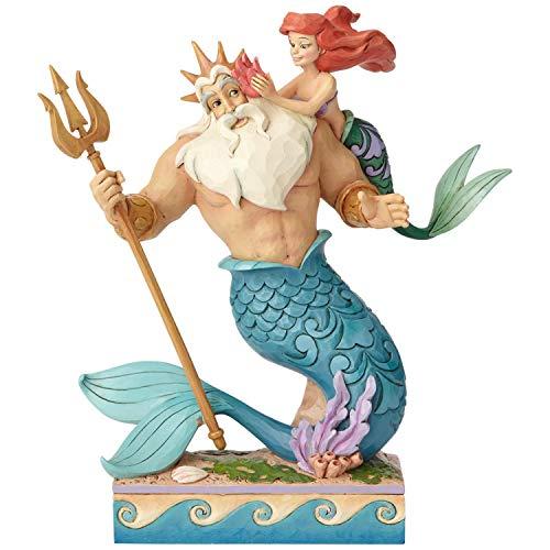 Disney Pequeña Princesa de Papá-Figurina de Ariel y Tritón, Resina,
