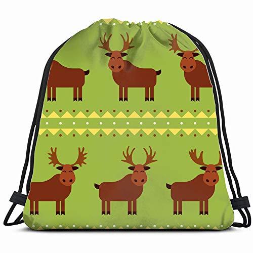 fjfjfdjk Moose elk Different Horns Animals Wildlife Drawstring Backpack Gym Sack Lightweight Bag Water Resistant Gym Backpack for Women&Men for Sports,Travelling,Hiking,Camping,Shopping Yoga -