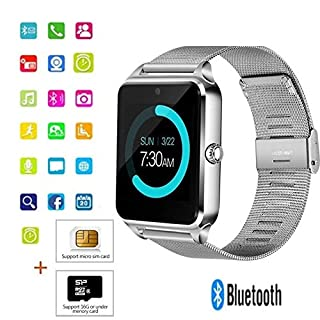 Befied SmartLife - Smart Watch Bluetooth Remote Camera Sedentary Remind | Android IOS support SD Card Memory Card | Alarm |Steps Counting | Sleep Monitor (Silver)