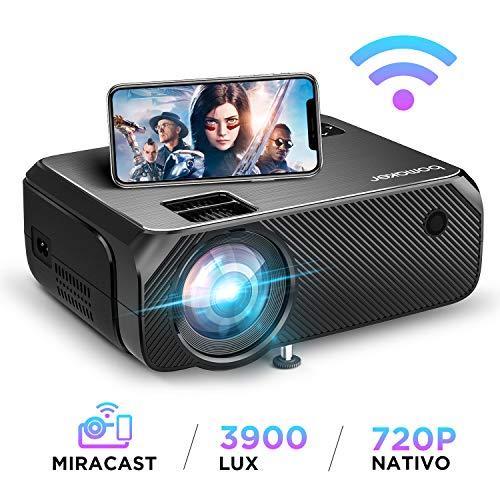 Proiettore, bomaker videoproiettore wifi wireless, 3900 lumen, risoluzione nativa 1280x720p, supporto full hd 1080p, 300'' display/andiord /ios/hdmi/vga/sd/av/usb per home cinema e all'aperto