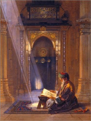 Poster 60 x 80 cm: in der Moschee von Carl Friedrich Heinrich Werner/Bridgeman Images - Hochwertiger Kunstdruck, Neues Kunstposter