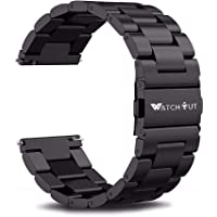 WatchOut Luxury Stainless Steel Metal Clasp Buckle Watch Chain Strap Band. Compatible with all 22mm Regular Watches and Smart Watches like Samsung Galaxy Watch 46mm/Gear S3 Frontier/S3 Classic/Huawei Watch 2/Moto 360/WatchOut Gen2