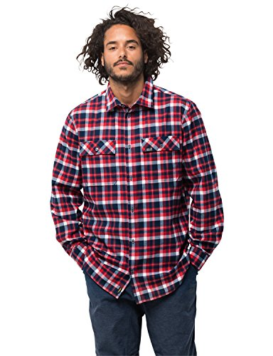 Jack Wolfskin Herren Bow Valley Shirt Outdoor Reise Freizeithemd Atmungsaktiv Hemd, blau (red blue checks), XXL