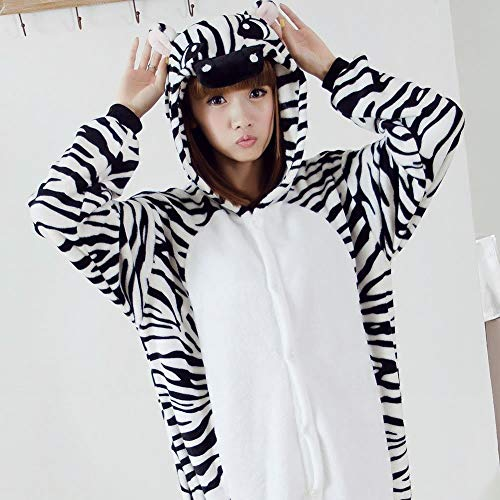 Qinch home pigiama adulto unisex - peluche one piece costume cosplay invernale ispessivo per il tempo libero (color : zebra, size : small)