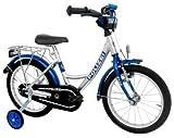 """Kinderfahrrad 18"""" Zoll POLIZEI Wave-Rahmen silber-blau Stützräder"""