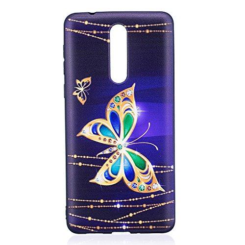 Coque Nokia 8,Ultra Mince Doux Souple TPU Silicone Gel Bumper Cover Case, Anti-Rayures Protection Coque Téléphone Peint Arrière Housse Étui pour Nokia 8 - Grand Papillon