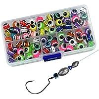 QualyQualy - Juego de Perlas de Pesca, plástico Duro, Color Rojo y Amarillo, 400Pcs 6mm Fish Eye Beads
