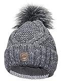 ZADSON Stylische Mütze für Damen mit Kunstfell-Bommel - Gefütterte Winter-Mütze Bommelmütze - Moderne Strick-Mütze Outdoor Beanie