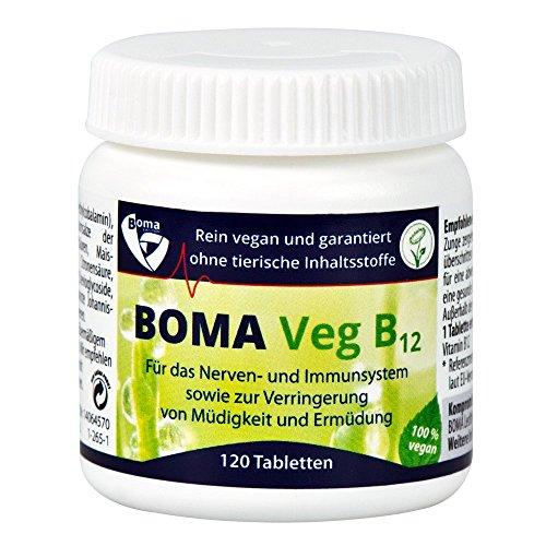 Vitamin B12 100% Vegan|Boma Lecithin Veg B12 |1000μg Methylcobalamin pro Tablette| hochdosiert|