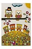 Australia - Cairns Elfenbein Teppich Kurzflor Flachflor Kinderteppich Eule Bunt, Größe:120cm x 170cm, Farbe:Elfenbein