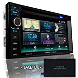 Tristan Auron BT2D7013B Autoradio mit Navi + DAB Box, 6,5'' Touchscreen Monitor, Web-Link, Bluetooth Freisprecheinrichtung, USB/SD, CD/DVD, DAB+ Lenkradfernbedienung Rückfahrkamera, 2 Din