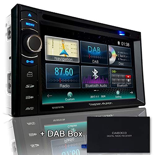 Tristan Auron BT2D7013B Autoradio mit Navi + DAB Box, 6,5'' Touchscreen Monitor, Web-Link, Bluetooth Freisprecheinrichtung, USB/SD, CD/DVD, DAB+ Lenkradfernbedienung Rückfahrkamera, 2 Din