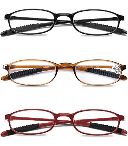 VEVESMUNDO® Damen Herren Lesebrillen Augenoptik Lesehilfe Sehhilfe Leicht Flexibel Stil Schmal Klassische kunststoff Lesebrille Brille Set Schwarz Rot Braun