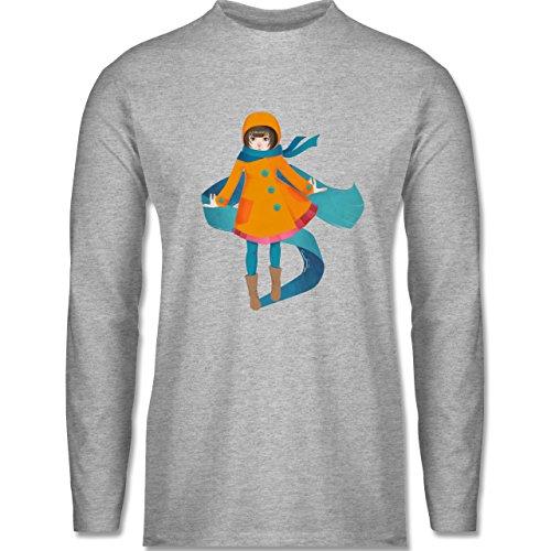 Statement Shirts - Herbstspaziergang - Longsleeve / langärmeliges T-Shirt für Herren Grau Meliert