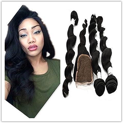 XQXHair El encierro del paquete 4Pcs con el pelo humano brasileño de los paquetes teje con 3 paquetes de la onda floja negra natural el 100% ventas sin procesar del pelo 340g / lot , 16 16 16 & 14