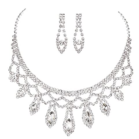 Paillettes Strass Perles Choker Boucle D'oreille Collier Mariage Bijoux Ensembles