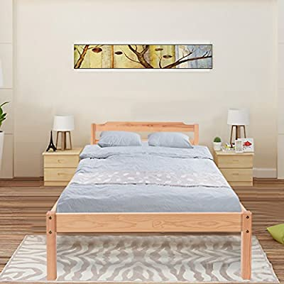 Costway Wooden Single Bed Frame 3ft Real Pine Modern Design Home Bedroom Furniture - inexpensive UK light store.