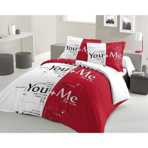 Preisvergleich Produktbild Lovely Home Bettwäsche You and me 100% Baumwolle– 200x 200cm + 2Kopfkissenbezüge 65x 65cm, rot und weiß