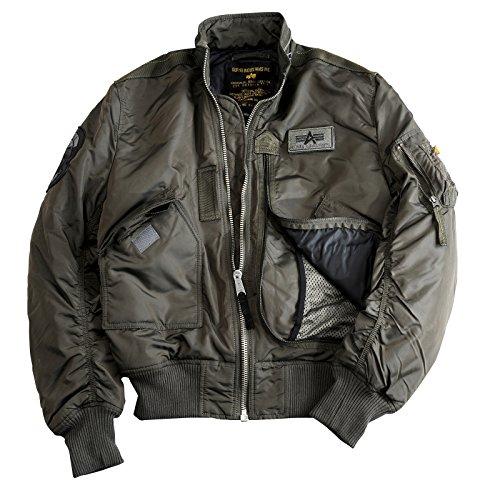 Alpha Industries Flight Jacket Engine Bomberjacke ist eine Bikerjacke aus 2-Tone Nylon mit L-Dokumententasche und gesticktem Lederpatch, Farbe:rep.Grey, Größe:XXL (Flight Nylon Jacket)